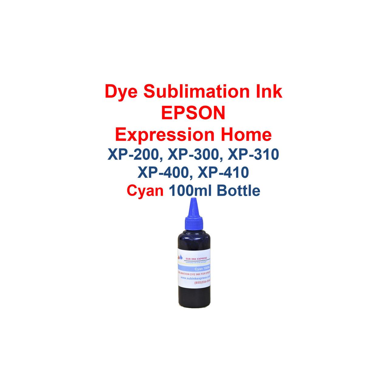 Dye Sublimation ink 4- 100ml bottles Refillable Ink Cartridges for Epson Expression Home xp-200 xp-300 xp-310 xp-400 xp-410 printers