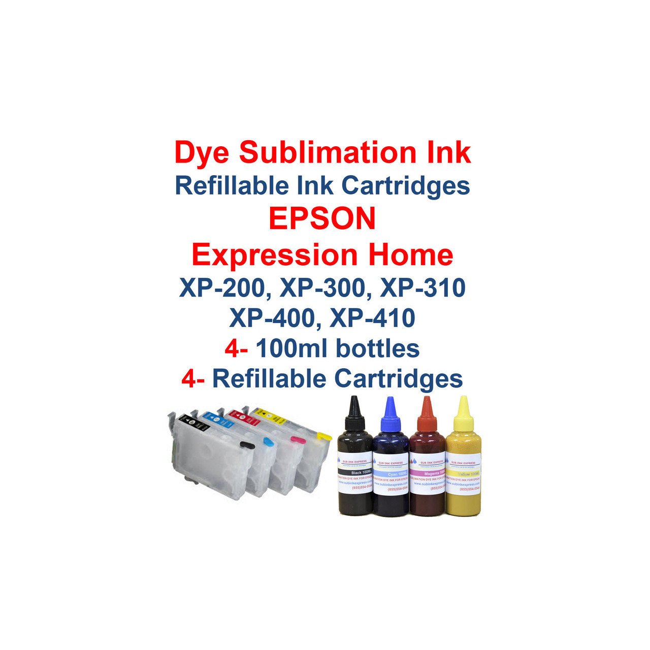 Dye Sublimation ink 4- 100ml bottles Refillable Ink Cartridges with auto reset chips installed for Epson Expression Home xp-200 xp-300 xp-310 xp-400 xp-410 printers  >> Package works with Printers: Epson Expression Home xp-200 Epson Expression Home xp-300 Epson Expression Home xp-310 Epson Expression Home xp-400 Epson Expression Home xp-410  Compatible with cartridge number: T200XL120, T200XL220, T200XL320, T200XL420  Package includes:  4- 100ml bottles Dye Sublimation ink - 1 Black, 1 Cyan, 1 Magenta, 1 Yellow 4- Refillable Ink Cartridges with auto reset chips 4- Syringes for filling cartridges  >> Our Refillable Cartridges have a Auto Reset Chip installed on them, no chip Resetter is needed  Dye Sublimation Ink  Heat Transfer printing  T-Shirts, Hats, Metal, Ceramic, Mugs, Plates, etc...  Works with all substrates    No extra software  No color profiles needed   >>> Los Angeles same day delivery available (Contact us for pricing) <<<