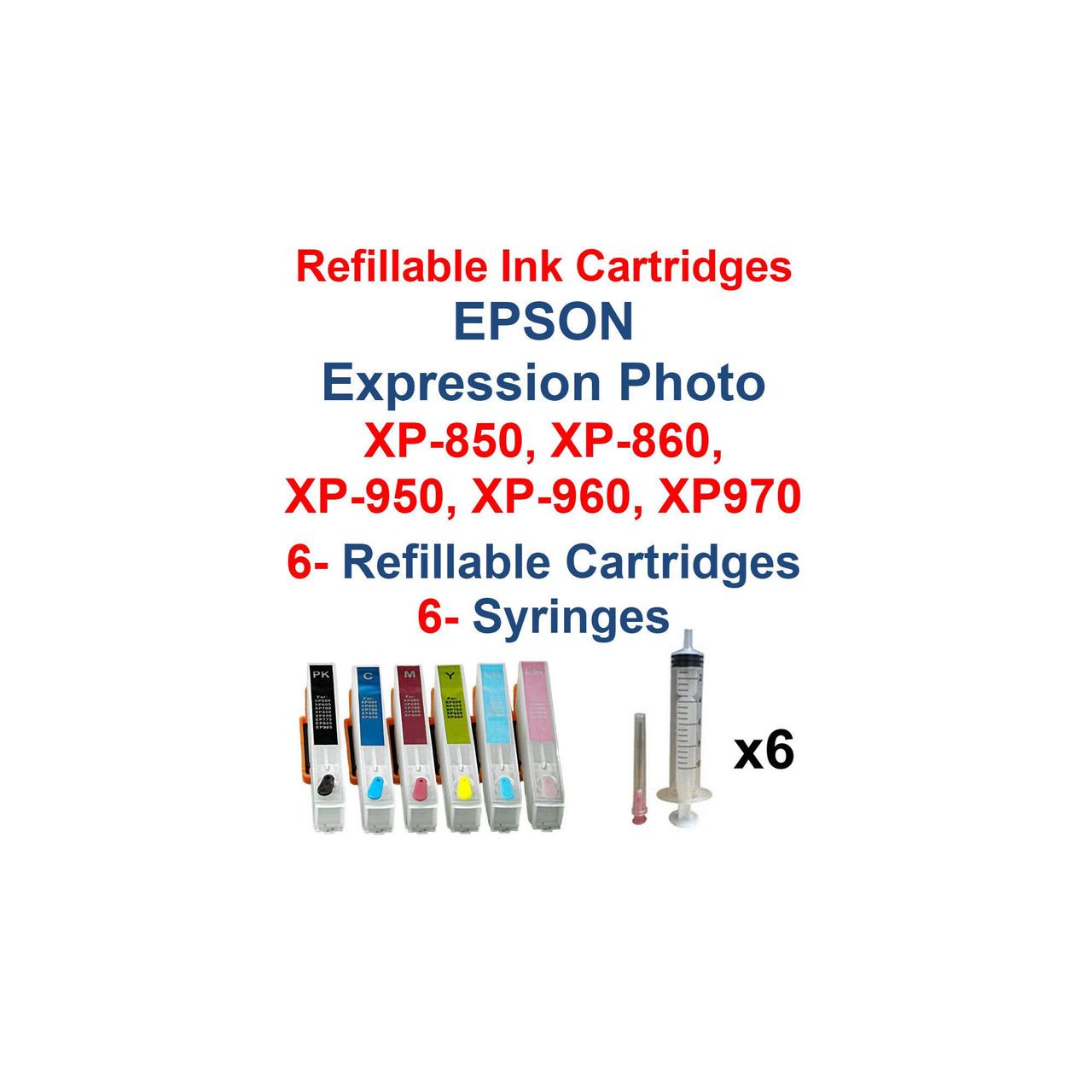 Refillable ink Cartridges for Epson Expression Photo xp-850 xp-860 xp-950 xp-960 xp-970 Printer