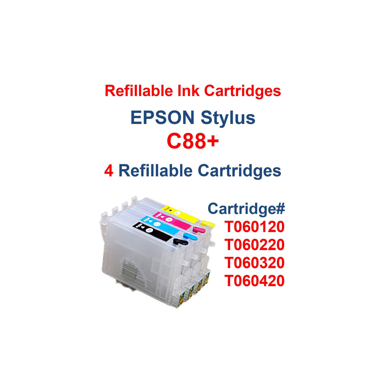 Refillable Ink Cartridges with auto reset chips for Epson Stylus C88 printer