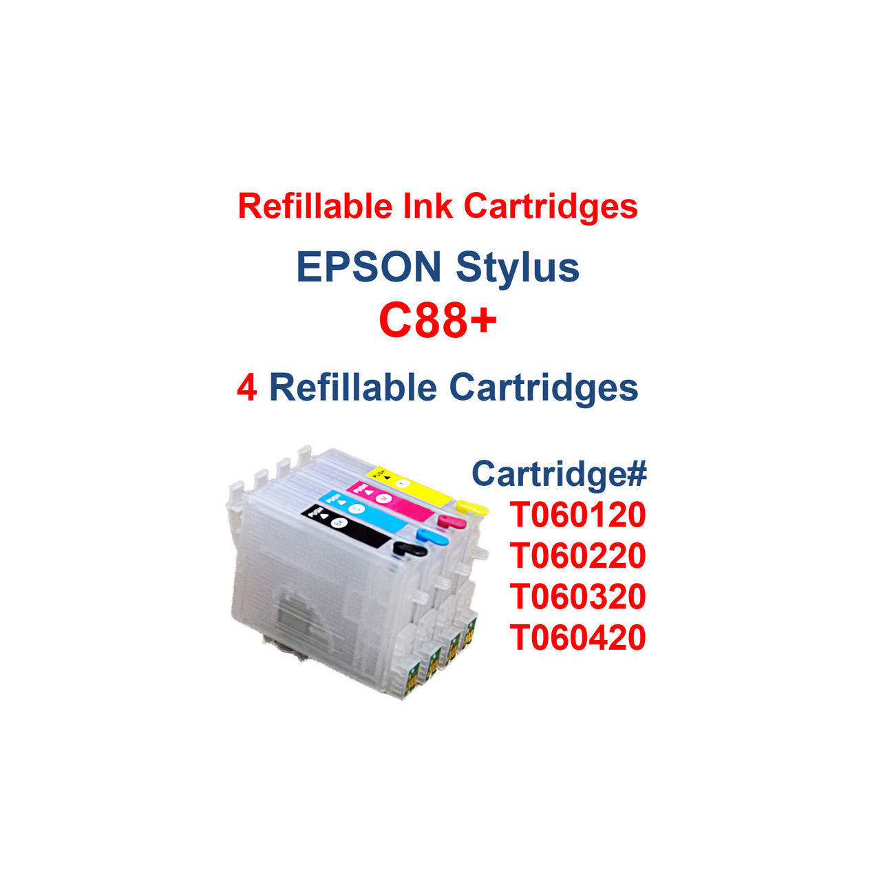 4- Refillable Ink Cartridges with auto reset chips for Epson Stylus C88+ printer  Package includes: 4- Refillable Ink Cartridges with auto reset chips 4- Syringes for filling cartridges  >> Our Refillable Cartridges have a Auto Reset Chip installed on them, no chip Resetter is needed   >>> Los Angeles same day delivery available (Contact us for pricing) <<<