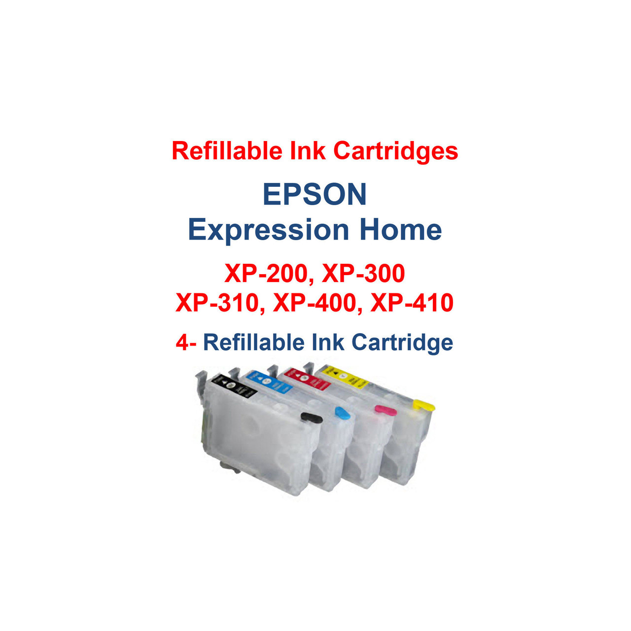 Refillable Ink Cartridges with auto reset chips installed for Epson Expression Home xp-200 xp-300 xp-310 xp-400 xp-410 printers  >> Package works with Printers: Epson Expression Home xp-200 Epson Expression Home xp-300 Epson Expression Home xp-310 Epson Expression Home xp-400 Epson Expression Home xp-410  Compatible with cartridge number: T200XL120, T200XL220, T200XL320, T200XL420  Package includes:  4- Refillable Ink Cartridges with auto reset chips 4- Syringes for filling cartridges  >> Our Refillable Cartridges have a Auto Reset Chip installed on them, no chip Resetter is needed   >>> Los Angeles same day delivery available (Contact us for pricing) <<<
