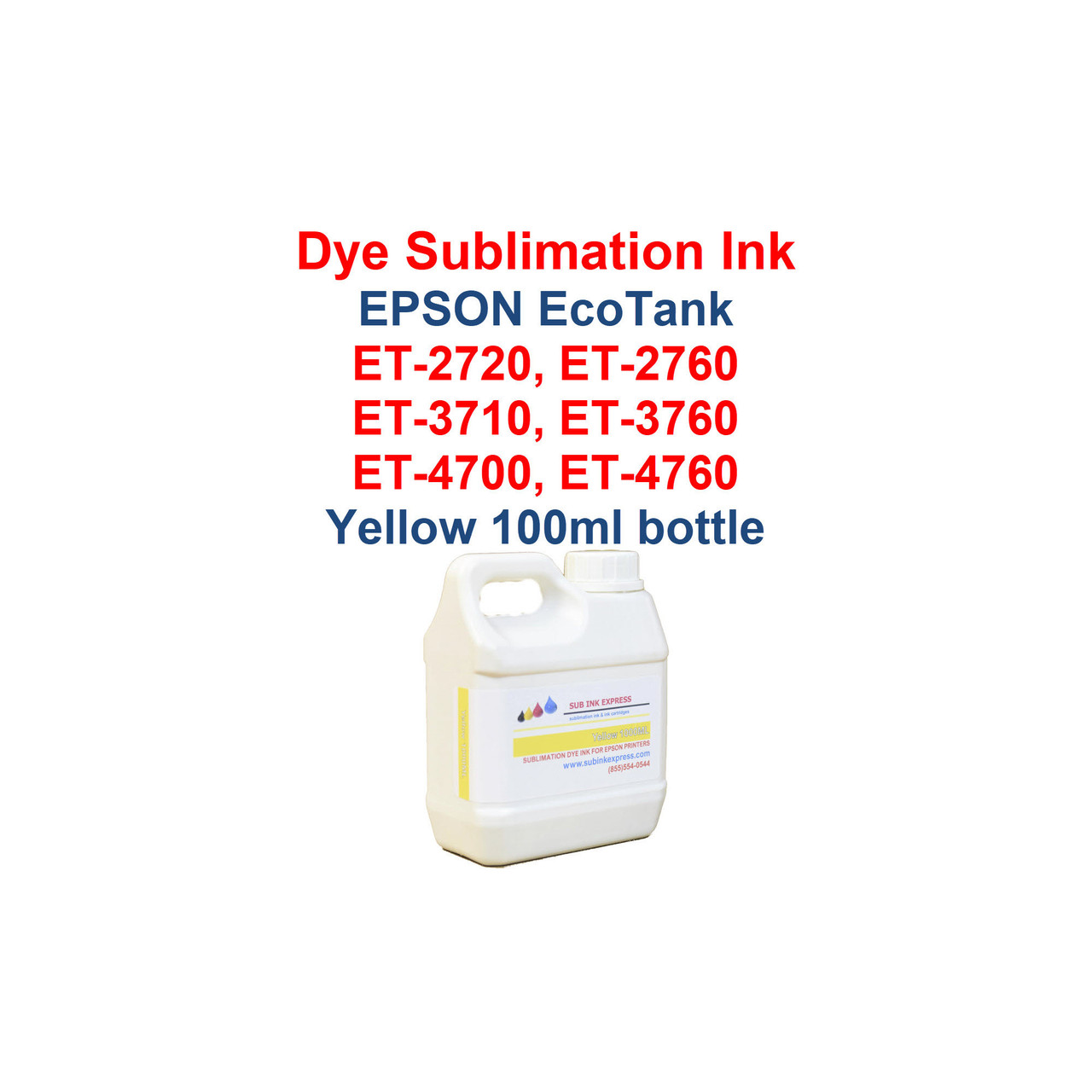 >>> Los Angeles same day delivery available (Contact us for pricing) <<<  Yellow - 1000ml bottle Dye Sublimation ink for Epson EcoTank et-2720 et-2760 et-3710 et-3760 et-4700 et-4760 printers  >>> This bottle size is for refilling the Epson bottles or our 70ml and 135ml bottles <<<  Package includes:  Yellow 1000ml bottle Dye Sublimation ink - 1 Yellow  Dye Sublimation Ink  Heat Transfer printing  T-Shirts, Hats, Metal, Ceramic, Mugs, Plates, etc...  Works with all substrates    No extra software  No color profiles needed