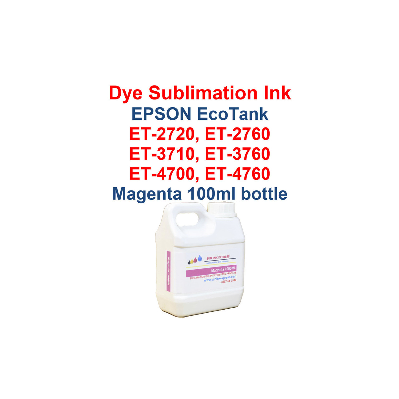 >>> Los Angeles same day delivery available (Contact us for pricing) <<<  Magenta - 1000ml bottle Dye Sublimation ink for Epson EcoTank et-2720 et-2760 et-3710 et-3760 et-4700 et-4760 printers  >>> This bottle size is for refilling the Epson bottles or our 70ml and 135ml bottles <<<  Package includes:  Magenta 1000ml bottle Dye Sublimation ink - 1 Magenta  Dye Sublimation Ink  Heat Transfer printing  T-Shirts, Hats, Metal, Ceramic, Mugs, Plates, etc...  Works with all substrates    No extra software  No color profiles needed
