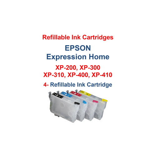 Refillable Ink Cartridges with auto reset chips installed for Epson Expression Home xp-200 xp-300 xp-310 xp-400 xp-410 printers