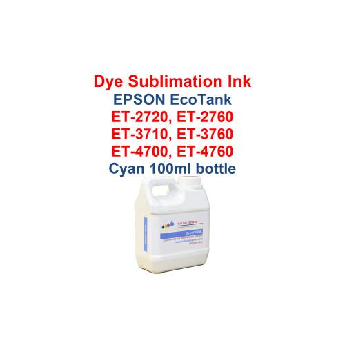 >>> Los Angeles same day delivery available (Contact us for pricing) <<<  Cyan - 1000ml bottle Dye Sublimation ink for Epson EcoTank et-2720 et-2760 et-3710 et-3760 et-4700 et-4760 printers  >>> This bottle size is for refilling the Epson bottles or our 70ml and 135ml bottles <<<  Package includes:  Cyan 1000ml bottle Dye Sublimation ink - 1 Cyan  Dye Sublimation Ink  Heat Transfer printing  T-Shirts, Hats, Metal, Ceramic, Mugs, Plates, etc...  Works with all substrates    No extra software  No color profiles needed