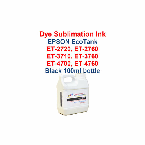 >>> Los Angeles same day delivery available (Contact us for pricing) <<<  Black - 1000ml bottle Dye Sublimation ink for Epson EcoTank et-2720 et-2760 et-3710 et-3760 et-4700 et-4760 printers  >>> This bottle size is for refilling the Epson bottles or our 70ml and 135ml bottles <<<  Package includes:  Black 1000ml bottle Dye Sublimation ink - 1 Black  Dye Sublimation Ink  Heat Transfer printing  T-Shirts, Hats, Metal, Ceramic, Mugs, Plates, etc...  Works with all substrates    No extra software  No color profiles needed