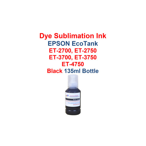 1 - Black - 135ml bottles Dye Sublimation ink for Epson EcoTank models:  et-2700 printer  et-2750 printer  et-3700 printer  et-3750 printer  et-4750 printer   Bottles have the New fill cap for filling the printer with ink  Package includes: Black 135ml bottles Dye Sublimation ink -  1x Black  Dye Sublimation Ink  Heat Transfer printing  T-Shirts, Hats, Metal, Ceramic, Mugs, Plates, etc...  Works with all substrates    No extra software  No color profiles needed  >>> Los Angeles same day delivery available (Contact us for pricing) <<<