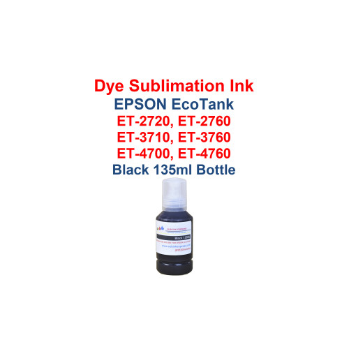 1 - Black 135ml bottle Dye Sublimation ink for Epson EcoTank models: et-2720 printer  et-2760 printer  et-3710 printer  et-3760 printer et-4700 printer  et-4760 printer   Bottles have the New fill cap for filling the printer with ink   Package includes: Black 135ml bottles Dye Sublimation ink -  1x Black  Dye Sublimation Ink  Heat Transfer printing  T-Shirts, Hats, Metal, Ceramic, Mugs, Plates, etc...  Works with all substrates    No extra software  No color profiles needed  >>> Los Angeles same day delivery available (Contact us for pricing) <<<