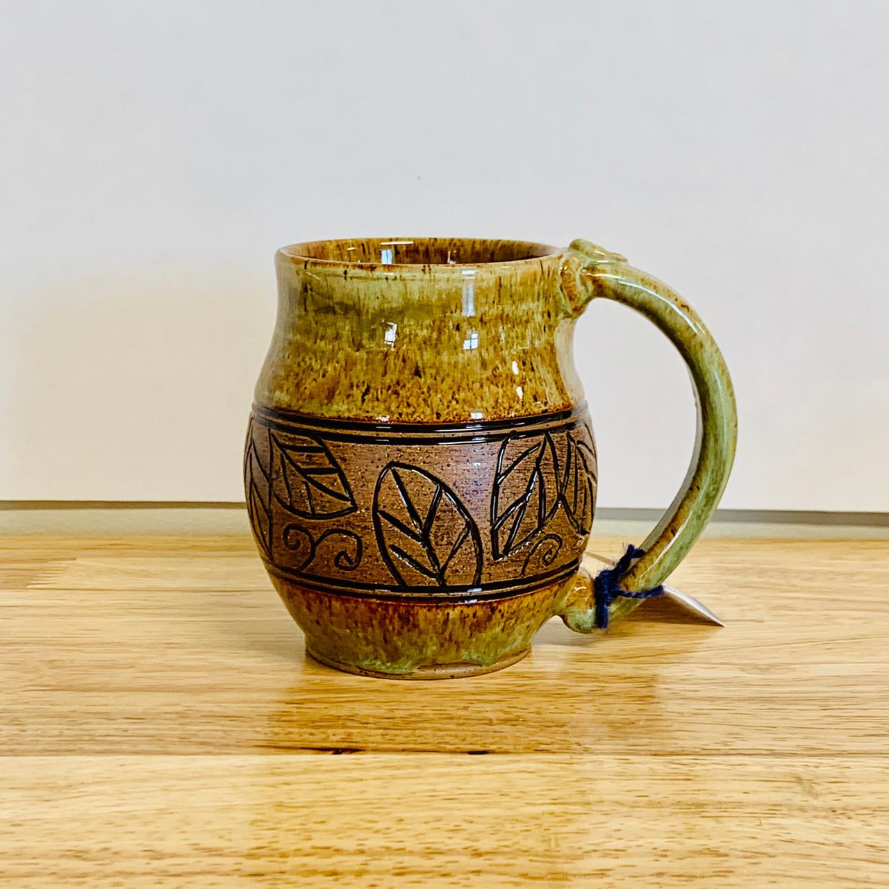 Pottery Mug With A Saying Carved Leaf Band Green 14 Oz Giftedpottery Com