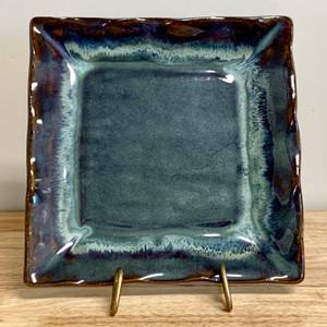 "Handmade Pottery Square Dish 8 - 8.5"" in Gray Green Glaze"