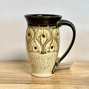 Black and Straw Yellow Hand Carved Mug 16 oz.