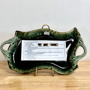 Handmade Pottery Black and Green Wave Tray with Handles