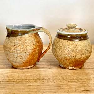 Handmade Creamer and Sugar Pottery Set - Tan with Rust