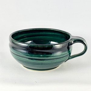 Handmade Soup/Latte Cup with Handle-Forest Green