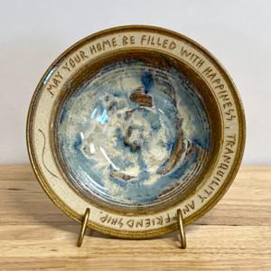Handmade House Warming Bowl Blue / Sand Glaze