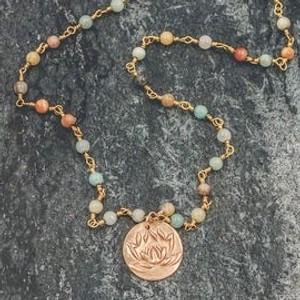 "Lotus Necklace Handmade 20"""