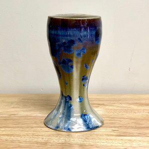 "Crystalline 6.75"" In. Blue / Gold Wine Goblet"