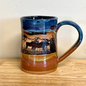 Handmade Pottery Desert Blue Large Tankard Moose Scene Mug 20 oz