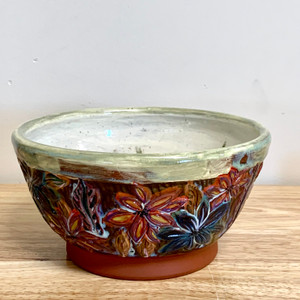 Handmade Pottery Red Earthenware Serving/Decorative Bowl-One of a Kind Vibrant Flowers