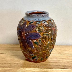 Handmade Pottery Red Earthenware Vase -One of a Kind Vibrant Flowers