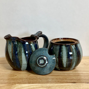 Handmade Pottery Cream and Sugar Set in a Stunning  Blue Jasper Glaze