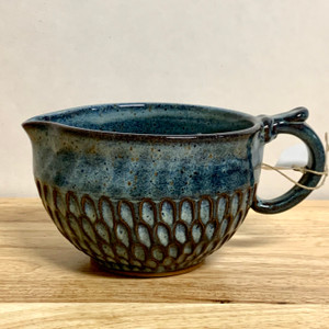 Handmade Pottery Gravy Bowl in Blue with Divots