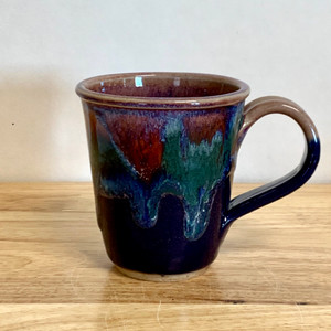 Handmade Coffee Mug  Blue and Lavender Short