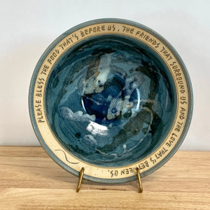 Handmade Blessing Bowl Slate Blue Beautiful!
