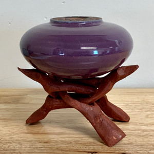 "Handmade Pottery Plum Colored ""Soul Pot"" with Stand"