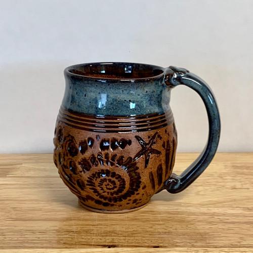 Pottery Mug with a Saying - Blue Seashell - 14 oz.