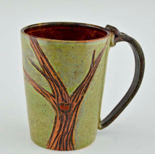 Pottery Mug with a Saying - Green or Blue with Tree Motif 14 oz