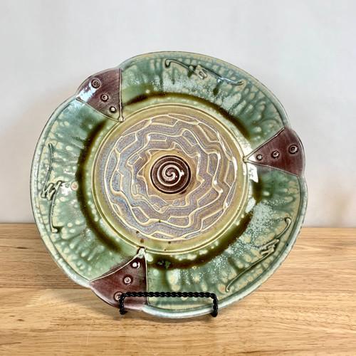 "Handmade Pottery Round 11"" Scalloped Edge Platter"