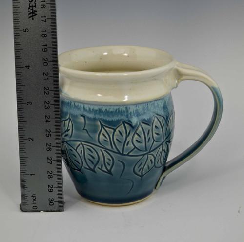 Carved Leaf Round Mug in Shadow Blue and White 14 oz.