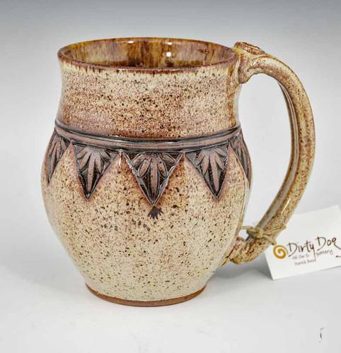 Handmade Pottery Mug with a Saying - Beige Palm 14 oz
