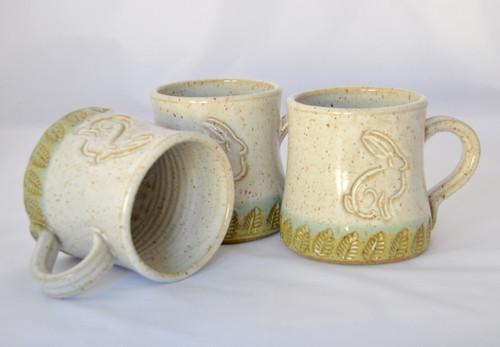 Handmade Pottery Bunny Mug White and Green