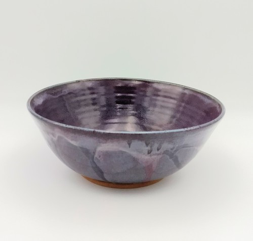 Handmade Serving Bowl Egg Plant Glaze