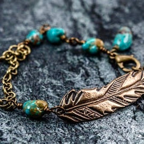 Feather and Turquoise Bracelet