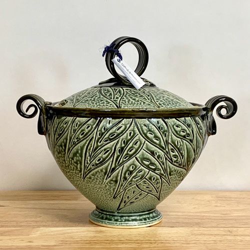 Handmade Stoneware Altered Casserole Dish w/Leaf Design
