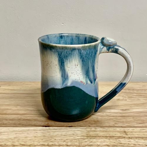 Handmade Mug with a Blue/Green Marble Glaze