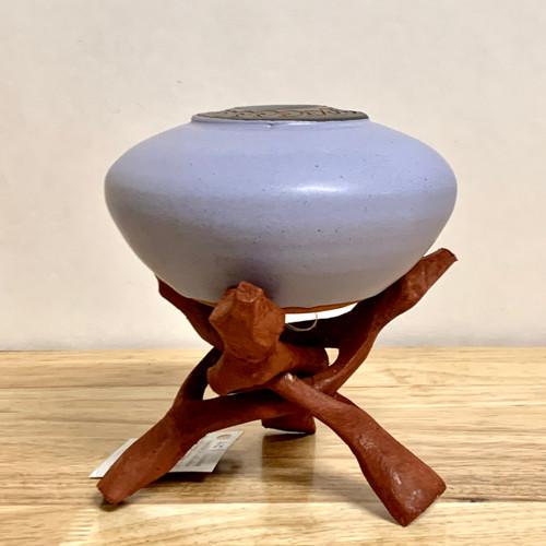 "Handmade Pottery Lavender Glaze ""Soul Pot"" with Stand"