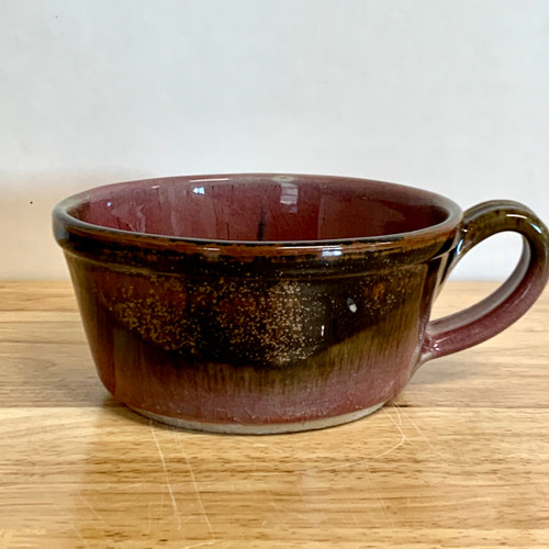 Handmade Chili/Soup Bowl with Handle  Red and Brown