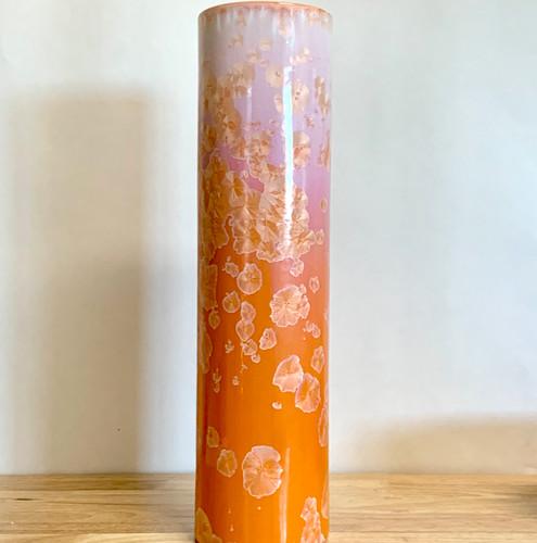 """Crystalline Handmade Cylinder Vase Tangerine 15"""" Tall Beautiful !"""
