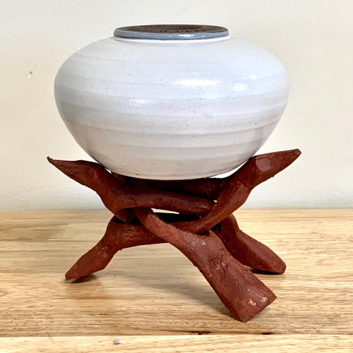 """Handmade Cream Colored """"Soul Pot"""" with Stand"""