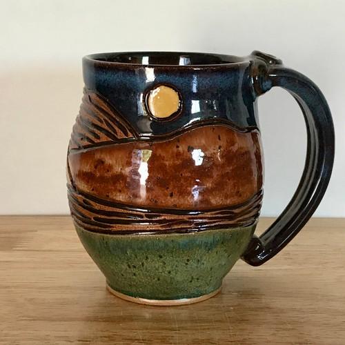 Pottery Mug with a Saying - Mountain Landscape 14 oz