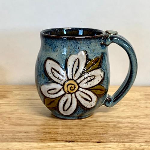 Pottery Mug with a Saying - Blue Daisy 14 oz