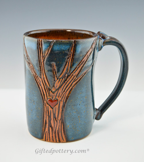 Pottery Mug with a Saying - Green or Blue with Tree Motif - 1
