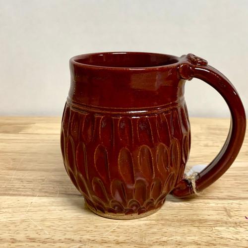 Pottery Mug with a Saying - Red Divot - 14 oz.