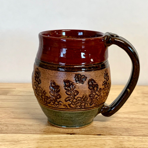 Pottery Mug with a Saying - Eden - Red, Green, Brown 14 oz.