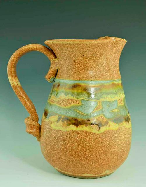 "Elegant Handmade Water/Milk Pitcher 8"" in Terracotta Southwest Glaze"